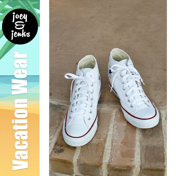 4116187426a4b4 Converse Shoes - Converse White Lux Mid Hidden Wedge Shoes Size 9.5